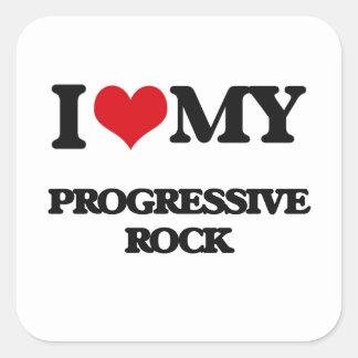 Amo mi ROCK PROGRESIVO Calcomania Cuadradas