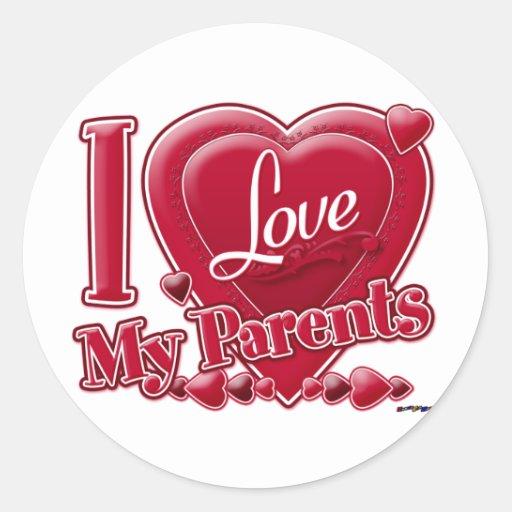 Amo mi rojo de los padres - corazón pegatinas redondas