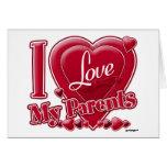 Amo mi rojo de los padres - corazón tarjetón