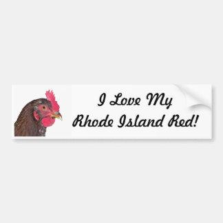 """Amo mi rojo de Rhode Island "" Pegatina Para Auto"