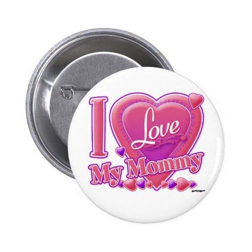 Amo mi rosa/púrpura - corazón de la mamá pin redondo 5 cm