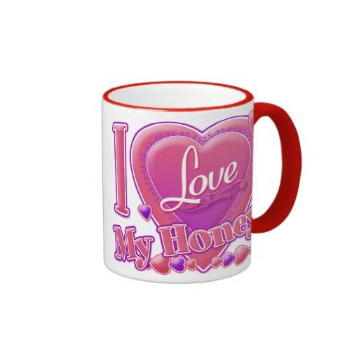 Amo mi rosa/púrpura - corazón de la miel taza de dos colores