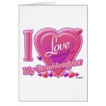 Amo mi rosa/púrpura - corazón de la nieta tarjeton