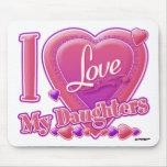 Amo mi rosa/púrpura - corazón de las hijas tapete de ratones
