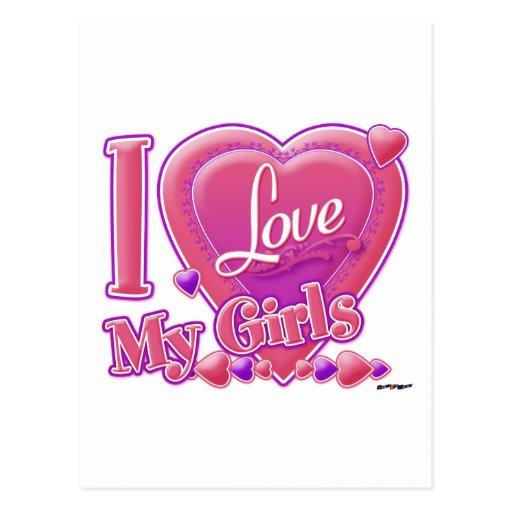 Amo mi rosa/púrpura - corazón de los chicas postal