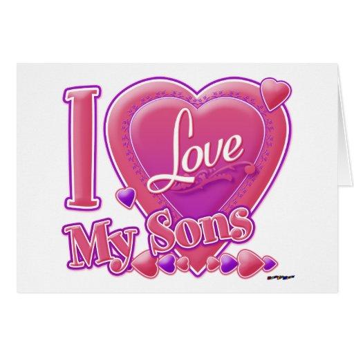 Amo mi rosa/púrpura - corazón de los hijos tarjeta de felicitación