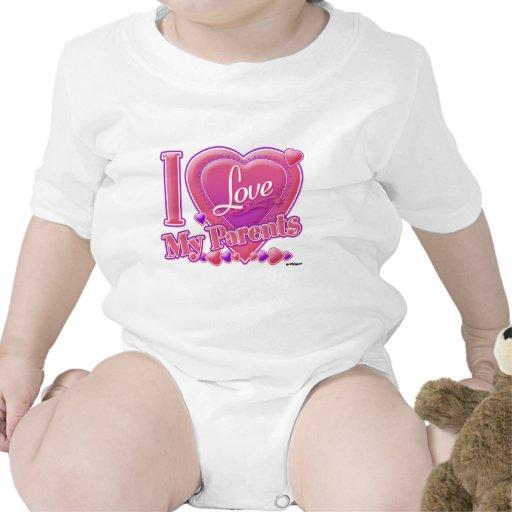 Amo mi rosa/púrpura - corazón de los padres trajes de bebé