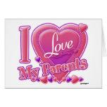 Amo mi rosa/púrpura - corazón de los padres tarjeta
