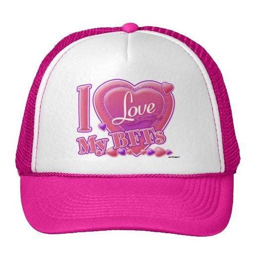 Amo mi rosa/púrpura - corazones de BFFs Gorro