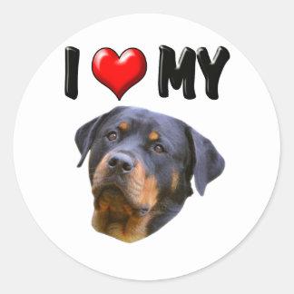 Amo mi Rottweiler 3 Pegatina Redonda
