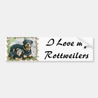 Amo mi Rottweilers Etiqueta De Parachoque