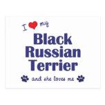 Amo mi ruso negro Terrier (el perro femenino) Tarjeta Postal