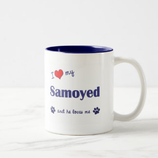 Amo mi samoyedo (el perro masculino) taza dos tonos