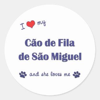 Amo mi sao Miguel (el perro femenino) de Cao de Pegatina Redonda