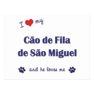 Amo mi sao Miguel (el perro masculino) de Cao de Tarjetas Postales