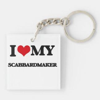 Amo mi Scabbardmaker Llavero Cuadrado Acrílico A Doble Cara