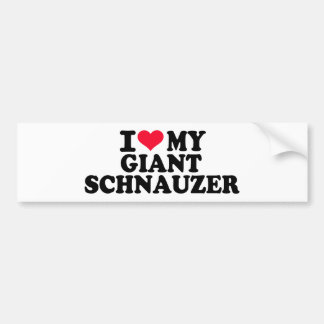 Amo mi Schnauzer gigante Etiqueta De Parachoque