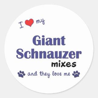 Amo mi Schnauzer gigante me mezclo los perros múl Pegatinas Redondas