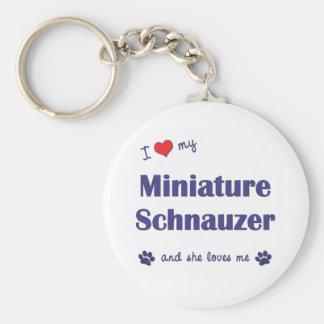Amo mi Schnauzer miniatura (el perro femenino) Llavero Redondo Tipo Pin