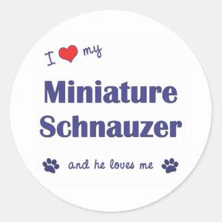 Amo mi Schnauzer miniatura (el perro masculino) Etiqueta Redonda