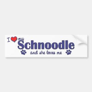 Amo mi Schnoodle el perro femenino Pegatina De Parachoque