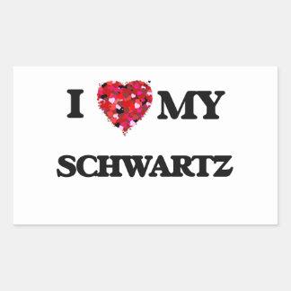 Amo MI Schwartz Pegatina Rectangular