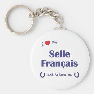 Amo mi Selle Francais (el caballo masculino) Llavero Redondo Tipo Pin