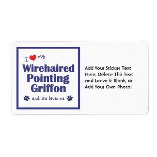 Amo mi señalar Griffon Wirehaired (el perro Etiquetas De Envío