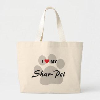 Amo mi Shar-Pei chino Pawprint Bolsa Tela Grande