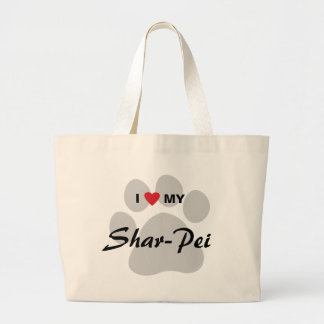 Amo mi Shar-Pei chino Pawprint Bolsa