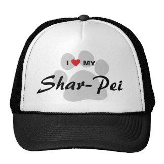 Amo mi Shar-Pei chino Pawprint Gorro