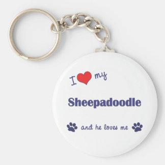 Amo mi Sheepadoodle (el perro masculino) Llavero Personalizado