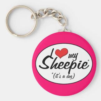 Amo mi Sheepie (es un perro) Llavero Redondo Tipo Pin