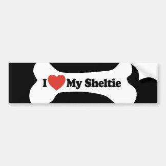 Amo mi Sheltie - hueso de perro Etiqueta De Parachoque