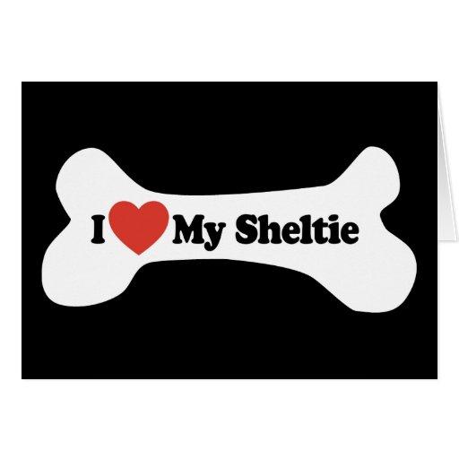 Amo mi Sheltie - hueso de perro Felicitacion