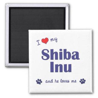 Amo mi Shiba Inu (el perro masculino) Imán Cuadrado