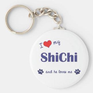 Amo mi ShiChi (el perro masculino) Llavero Redondo Tipo Pin