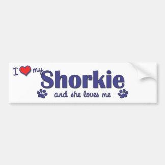 Amo mi Shorkie (el perro femenino) Etiqueta De Parachoque