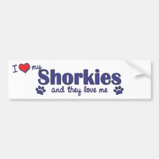 Amo mi Shorkies (los perros múltiples) Pegatina Para Auto