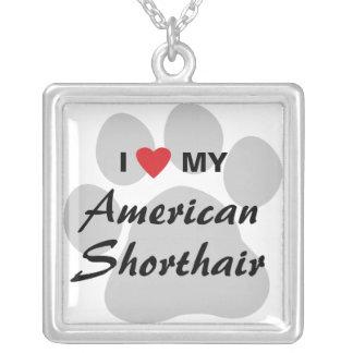 Amo mi Shorthair americano Colgante Cuadrado
