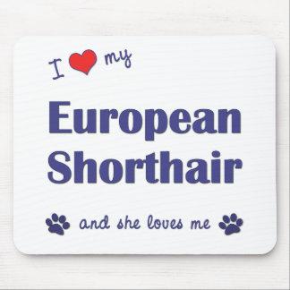 Amo mi Shorthair europeo (el gato femenino) Alfombrillas De Ratón