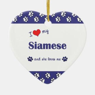 Amo mi siamés el gato femenino ornamento para reyes magos