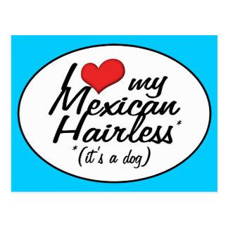 Amo mi sin pelo mexicano (es un perro) tarjetas postales