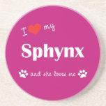 Amo mi Sphynx (el gato femenino) Posavasos Diseño