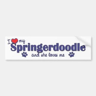 Amo mi Springerdoodle (el perro femenino) Pegatina Para Auto