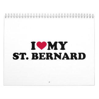 Amo mi St Bernard Calendario De Pared