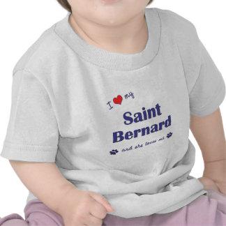 Amo mi St Bernard el perro femenino Camiseta