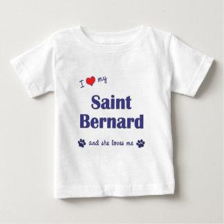 Amo mi St Bernard (el perro femenino) Playera Para Bebé
