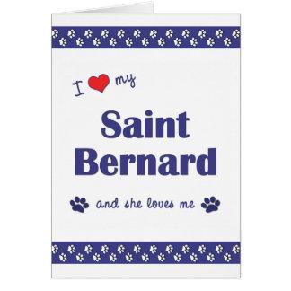 Amo mi St Bernard (el perro femenino) Tarjeta Pequeña