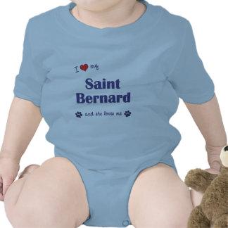 Amo mi St Bernard el perro femenino Traje De Bebé